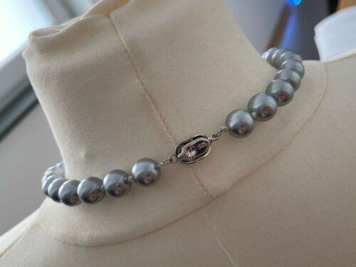 graue Collier Perlenkette Perlen Halskette 10mm Muschelkernperlen AAA geknotet