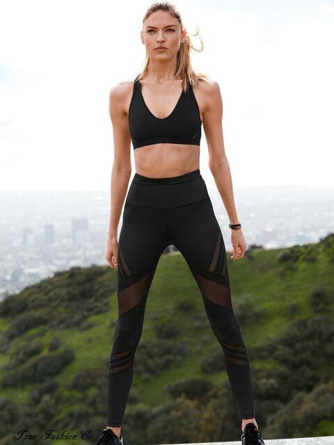88b8818d916c8 Victoria's Secret Sport Knockout High Rise Tight L Black Reflective Mesh New