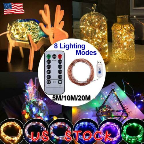 200 LED Micro Copper Wire String Fairy Lights Xmas Party Light Decor USB Plug In