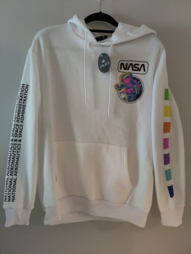 Hyper Space NASA Hoodie Sweatshirt Astronaut White /& Neon Size LARGE