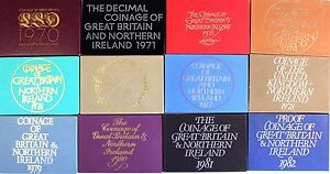 Coinage of Great Britain and Northern Ireland proof sets 1971 -1981 decimal