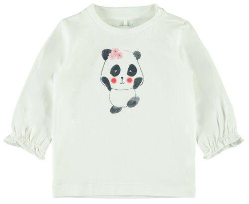 name it Baby  Langarmshirt Gr.56-86 creme weiß Panda langarm Pullover neu!