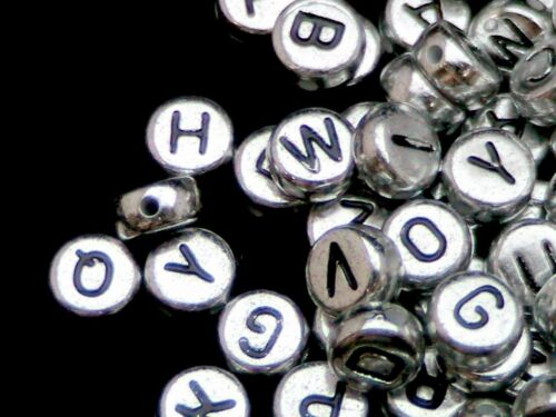 500 Pcs 7mm Silver Acrylic Coloured Alphabet Round Letter Beads Jewellery M136