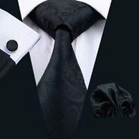 SN-823 Men's 100% Jacquard Woven Silk Neckties Tie+Hanky+Cufflinks Sets Free P&P