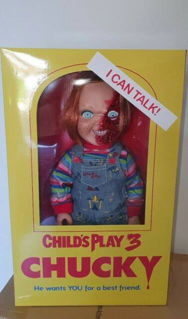 "2018 MEZCO Child/'s Play 3 PIZZA FACE CHUCKY 15/"" Talking Figure Doll NIB"