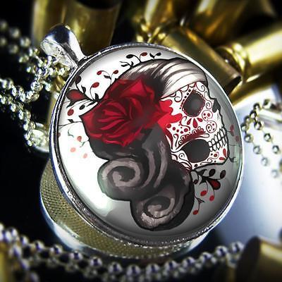 Santa Muerte Day of the Dead Sugar Skull Sterling Silver Glass Pendant Necklace