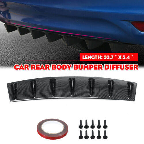 Car Spoiler Rear Body Lower Bumper Lip Diffuser Shark Fins Spoiler Carbon Fiber