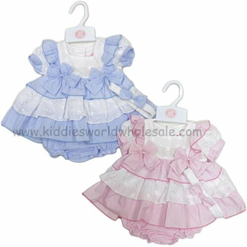 Baby Girls Spanish Romany Tiered Dress /& Pants Set Pink /& Blue Broderie Anglaise