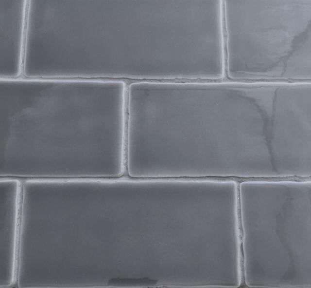 X Dark Gray Glossy Subway Ceramic Tile Wall And Backsplash Decor - Dark gray rectangular floor tile