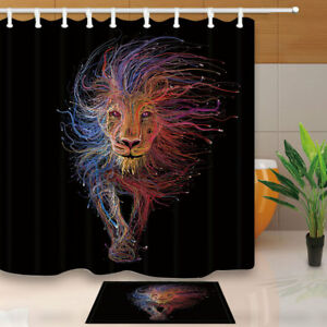 Image Is Loading Lion With Rainbow Hair Constellation Bathroom Fabric Shower