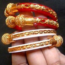 Indian Bengali Marriage Sankha Pola Red White Bangles Gold Fill 4 Pcs Churi 2.4'