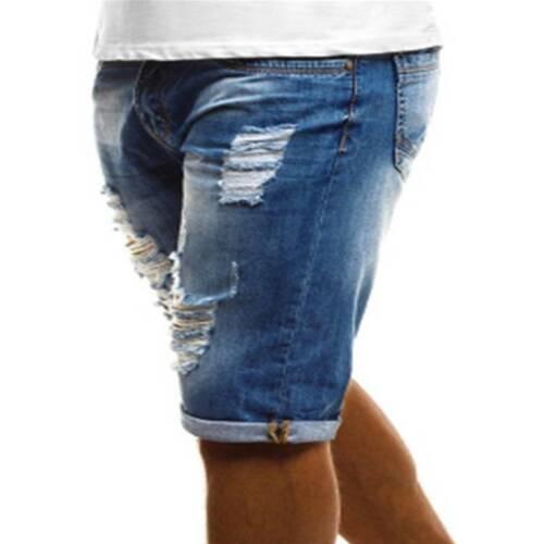 Herren Ripped Zerrissen Jeanshose Beiläufig Bermudas Kurzhose Denim Schlank Hose