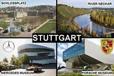 SOUVENIR FRIDGE MAGNET of STUTTGART GERMANY & PORSCHE & MERCEDES