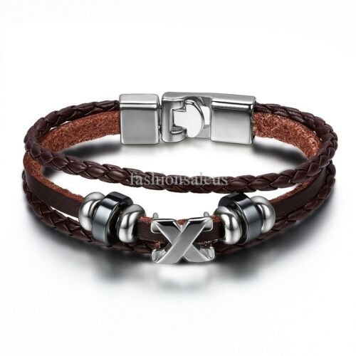 "Fauxy cuir Tissage Cordon Acier inoxydable bracelets hommes Femmes Bracelets 8.25/"""