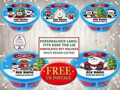 Personalised xmas Sweet chocolate tub Sticker Heroes Celebrations Cadbury Roses