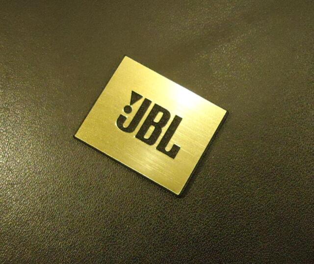 JBL Logo Emblem Badge brushed gold aluminum adhesive 28 x 23 mm [239d]