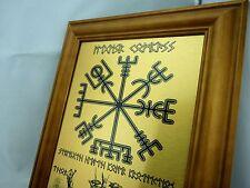 RUNE Viking WALL ART - VEGVISIR COMPASS - Print on Metal in Teak Wood Frame