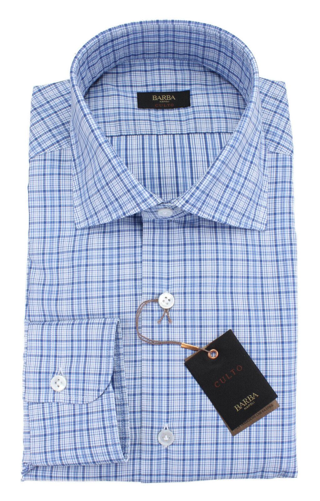 NWT BARBA NAPOLI hemd Culto Weiß Blau check handmade  43 17
