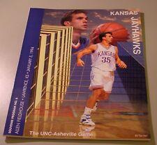 KU Jayhawk Basketball Program - UNC Asheville Jan 5, 1994