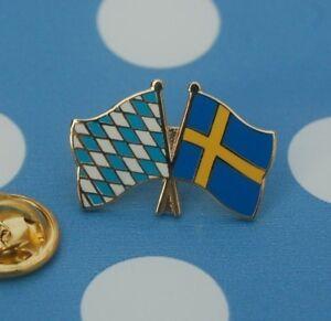 Freundschaftspin-Bayern-Schweden-Pin-Badge-Button-Anstecknadel-Anstecker-Sticker