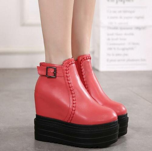 Womens Wedge High Heels Platform Warm Shoes Creeper Ankle Boots 14CM Muffin U843
