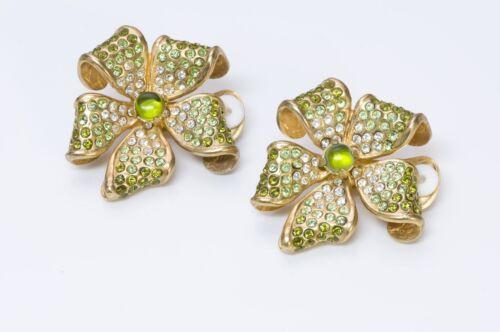 VALENTINO Garavani 1980's Green Crystal Flower Ear