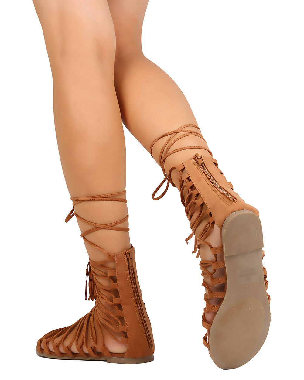 New Women Gilly Liliana Lively-12 Faux Suede Strappy Gilly Women Tie Gladiator Sandal b481a6