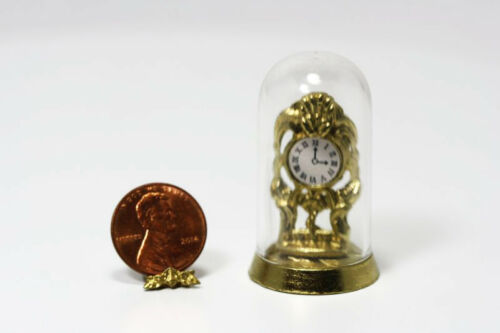 Dollhouse Miniature Ornate Clock in a Clear Dome by Royal Miniatures