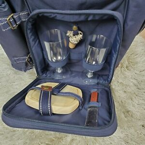 Picnic At Ascot Hunter Blue Insulated Backpack Service For 2 Wine Cheese Ebay