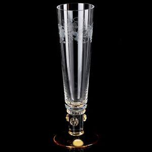 Sektglas-Theresienthal-Noppen-Nuppen-Trauben-Weinlaub-Gravur-Bernstein-gelb