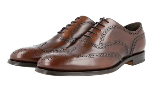 AUTH LUXURY PRADA OXFORD FULL BROGUE SHOES 2EB127 BROWN 11 45 45,5