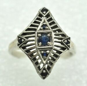 Sapphire-Ring-Sapphire-17-2-mm-925-Sterling-Silver-Antique-Style
