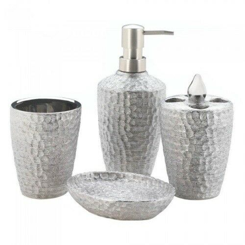 Hammered Silver Texture Bath Set, Silver Bathroom Accessories Set