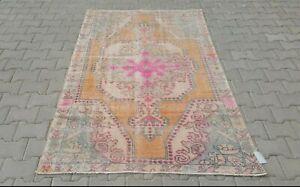 Oushak-4x7-Turkish-Rug-vintage-anatolian-ORANGE-PINK-Blu-Bohemian-handmade-wool