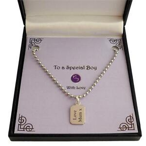 Details about Personalised Necklace for a Boy or Man  Any Engraving  Gift  for Dad, Son, etc