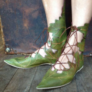 Women-Leaf-Shaped-Flat-Sandals-Gladiator-Lady-Lace-Up-Pointed-Toe-Moccasin-Shoes