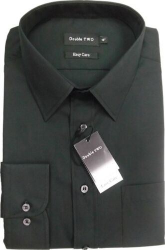 """Double Two Tinta Unita Camicia Nera per grandi uomini Colletto 18/"""" a 23/"""""""