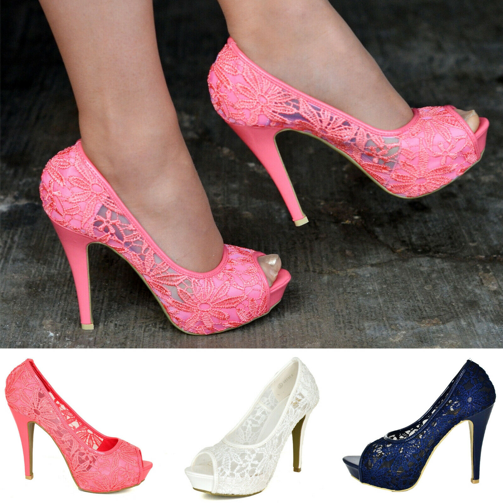 Ladies Lace Platform Pumps High Heels Peep Toe Summer Party Shoes Wedding Size