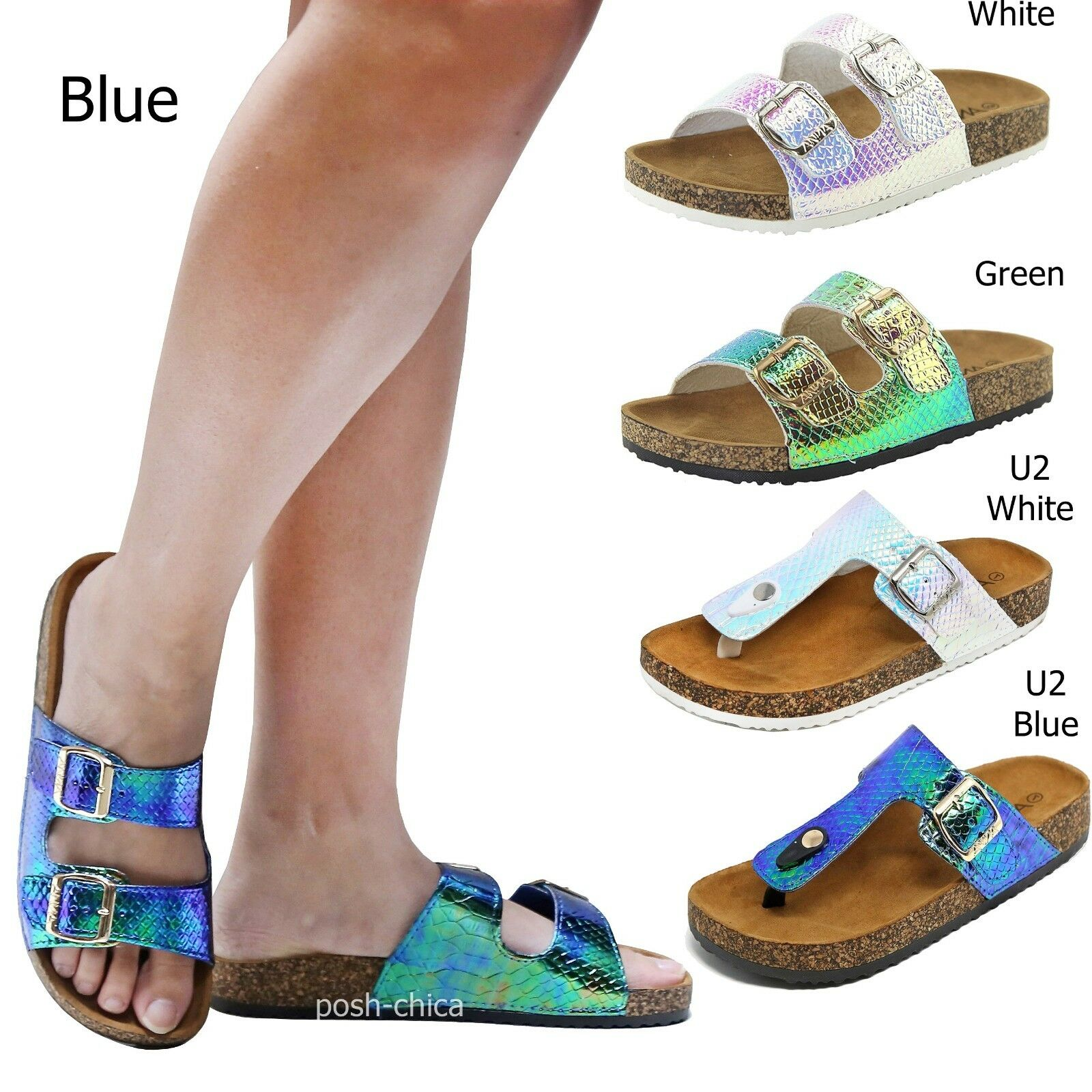 New Buckle Women Mermaid Unicorn Holographic Buckle New Sandals Slides Open Toe Slippers 924e10