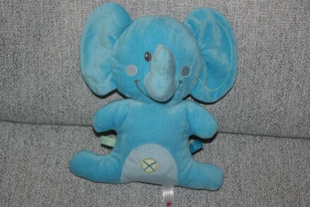 NICOTOY DOUDOU ELEPHANT BLEU TURQUOISE SEMI PLAT CROIX ETAT NEUF