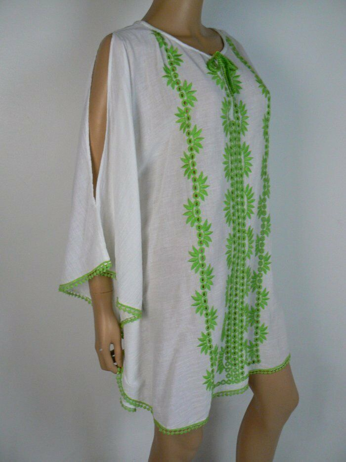 Nanette Lepore Swim Green White Embroidered Swim Dress Cover Up S 4 6 NWT N285