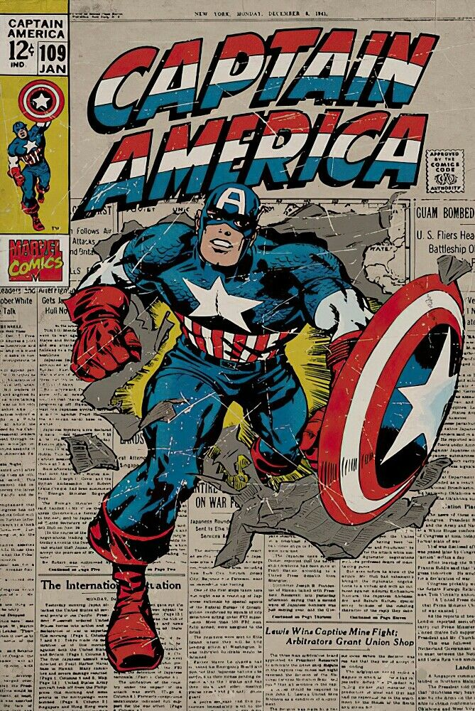 "Captain America Studio B Poster Mad Bomb 36x24/"" Wall Art p3322"