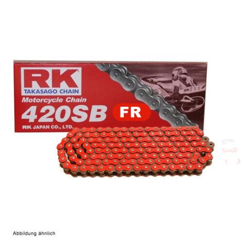 Motorrad Kette ROT RK FR420SB mit 128 Rollen und Clipschloss  offen