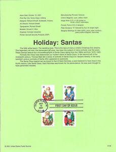 #0146 34c Christmas Santas (4) #3537-3540 Souvenir Page