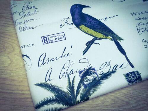 precio por 1//2 metros Shabby Chic Pájaros y Palmera 100/% Tela De Algodón