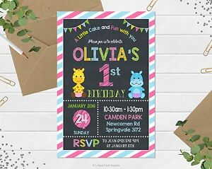 Details About First Birthday Invitations Jungle Animals Safari Personalised 1st Party Invites