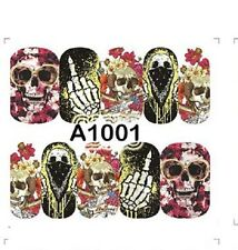 Nail Art Water Decals Full Wraps Halloween Gothic Skulls Skelton Goth A1101