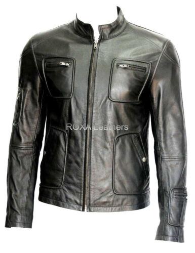 Roxa Homme Authentique Cuir d/'Agneau Véritable Veste en Cuir Noir élégant Parti porter manteau