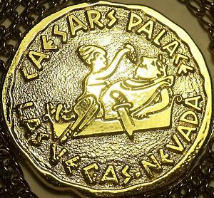 Massive-Caesar-And-Cleopatra-Gold-Colored-Medallion-Big-Berta-Prize-Free-Ship