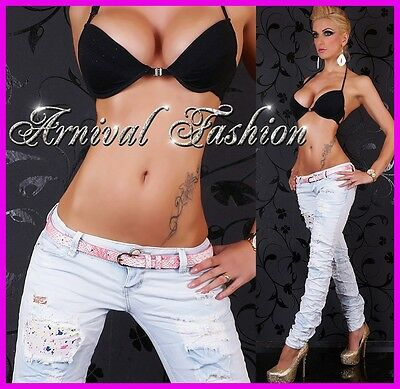 WOMENS DESTROYED SKINNY JEANS ladies ripped DENIM HOT PANTS BELT celeb trousers